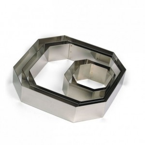 Square faceted stainless steel H45 180x180 mm