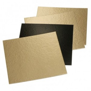 Double-sided square cardboard base gold and black 230 x 230 mm (50 pcs)