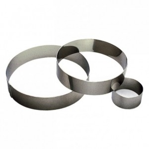 Cercle à mousse inox H40 Ø80 mm (lot de 6)