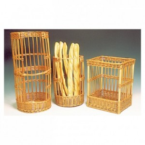 Round with handle wicker bread basket Ø 250 mm H 535 mm
