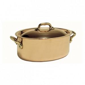 Cocotte ovale Elegance cuivre/inox avec couvercle L 260 mm