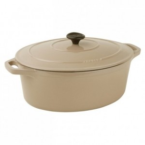 Oval casserole dish with lid cast iron light chesnut Le Chasseur L 310 mm