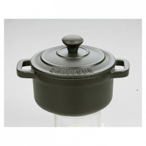 Round casserole dish with lid cast iron black Le Chasseur Ø 180 mm