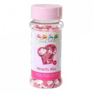 Coeurs roses et blancs en sucre FunCakes 60 g