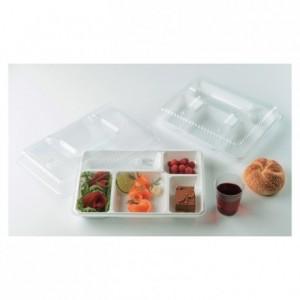 Couvercle pour plateau repas 5 compartiments transparent (lot de 200)