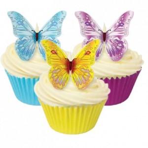 Décoration en azyme Culpitt papillons assortis 12 pièces