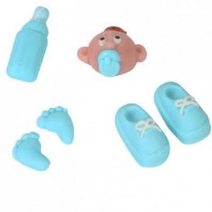 Décoration en pâte à sucre / pâte d'amandes FunCakes bébé bleu 6 pièces