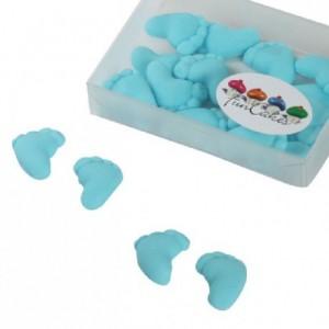 Décoration en pâte à sucre FunCakes pieds de bébé bleu 16 pièces