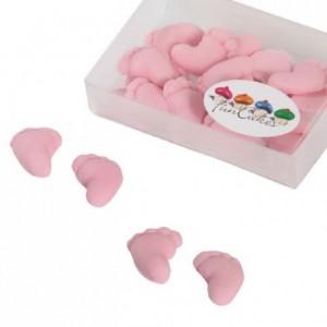 Décoration en pâte à sucre FunCakes pieds de bébé rose 16 pièces