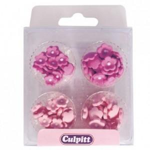 Décoration en sucre Culpitt petites fleurs roses 100 pièces