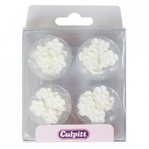 Décoration en sucre Culpitt petites fleurs blanches 48 pièces