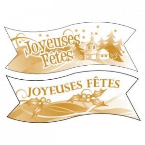 Décor azyme banderole Joyeuses Fêtes (lot de 24)