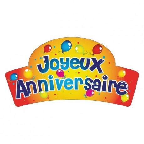 Edible Joyeux Anniversaire balloons decoration (24 pcs)
