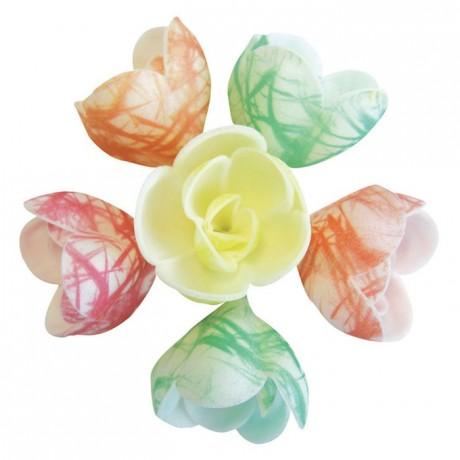 Décor azyme fleur pastel zébrée (lot de 72)