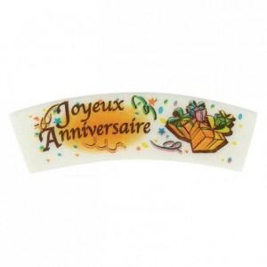 Décor azyme vanille Joyeux Anniversaire (lot de 24)