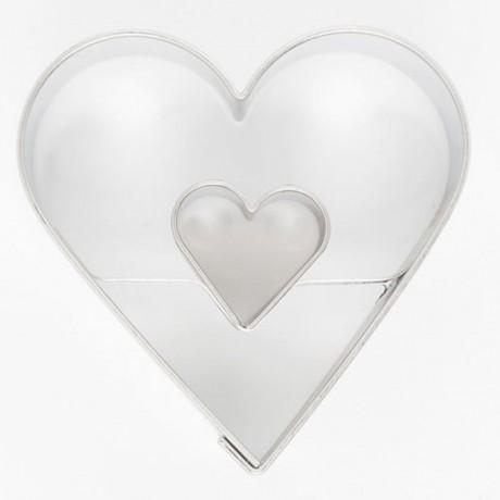Cookie Cutter Heart in Heart 4,5 cm