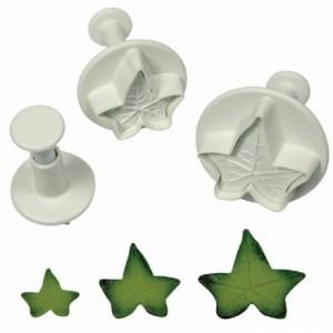 Découpoirs poussoirs PME feuilles de lierre 3 pièces