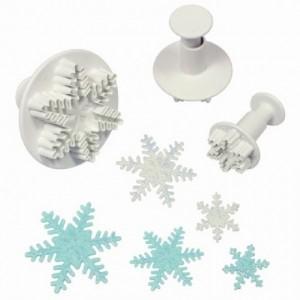 Découpoirs poussoirs PME flocons de neige 3 pièces