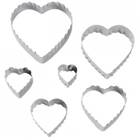 Découpoirs Wilton 2 cotés coeur 6 pièces