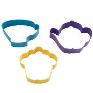 Découpoirs Wilton tasse à thé, théière et un cupcake 3 pièces 7,5 cm