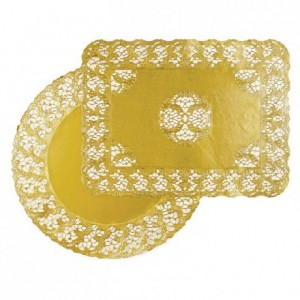 Gold rectangular doily Harmony 300 x 400 mm (100 pcs)