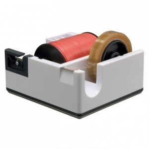 Counter dispenser for gift wrap ribbon and adhesive roll