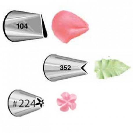 Douilles de décoration Wilton Set Petal 104, Leaf 352, Flower 224