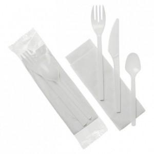 Ensemble couverts blancs 4 en 1 serviette couteau fourchette petite cuillère (lot de 250)