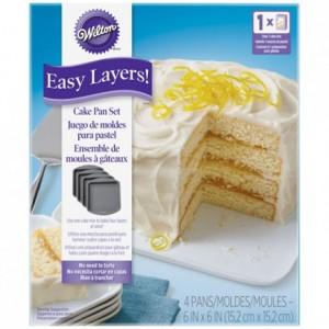 Wilton Square Cake Pan Easy Layers -15cm- Set/4