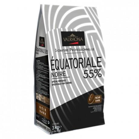 Equatoriale Noire 55% chocolat noir de couverture Signature Professionnelle fèves 3 kg