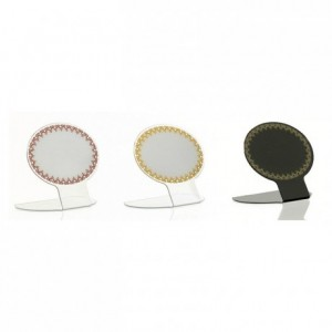 Etiquette ovale dentelle blanc/bordeaux (lot de 10)