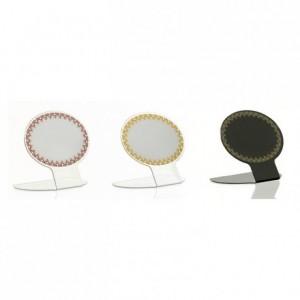 Lace oval label white/claret (10 pcs)