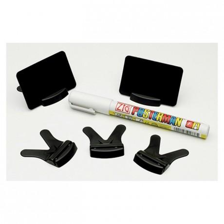 Etiquette rectangulaire noire avec support 60 x 40 mm (lot de 25)