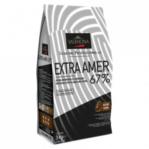 Extra Amer 67% chocolat noir de couverture Signature Professionnelle fèves 3 kg