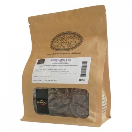 Extra Bitter 61% chocolat noir de couverture Mariage de Grands Crus fèves 500 g