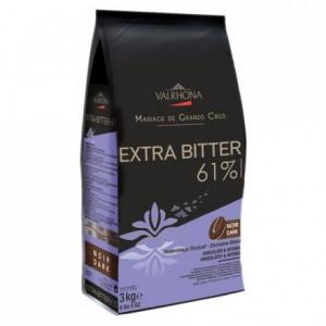 Extra Bitter 61% chocolat noir de couverture Mariage de Grands Crus fèves 3 kg