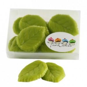 Feuilles en pâte d'amandes FunCakes vert clair 12 pièces