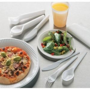Fourchette livrée empilée blanche «Fast» (lot de 100)