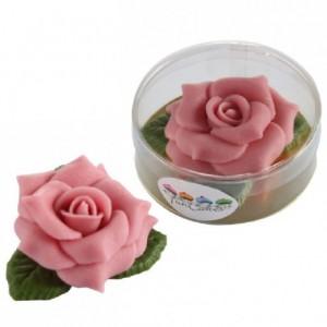 FunCakes Grande Rose en pâte d'amande avec feuilles Rose