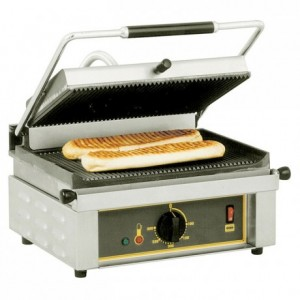 Roller-grill panini-grill, cast iron plates