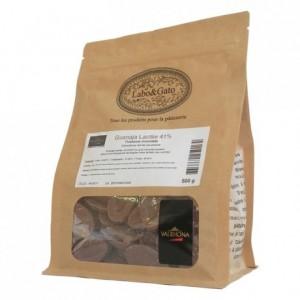 Guanaja Lactée 41% chocolat au lait de couverture Mariage de Grands Crus fèves 500 g