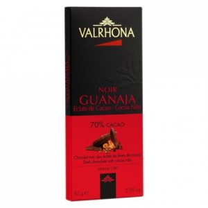 Guanaja 70% dark chocolate and cocoa nibs bar 85 g