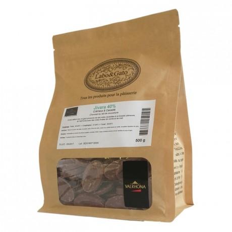 Jivara 40% chocolat au lait de couverture Mariage de Grands Crus fèves 500 g