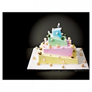 Kit with 5 stainless steel de-strctured square shapes for French style Wedding Cake