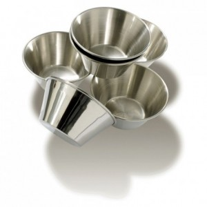 Pie mould stainless steel Ø 70 mm H 38 mm (6 pcs)