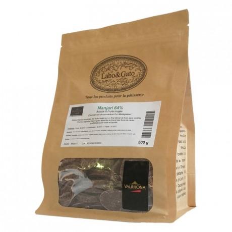 Manjari 64% chocolat noir de couverture pur Madagascar fèves 500 g