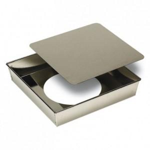 Manqué carré fond mobile fer blanc 220x220 mm (lot de 3)
