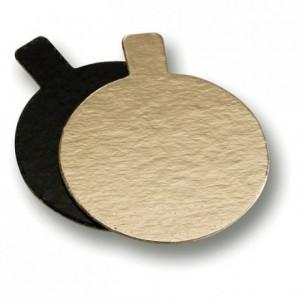 Mini reversible cardboard round gold and black Ø 80 mm (200 pcs)