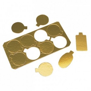 Mini smooth gold round cardboard Ø 80 mm (8 pcs)