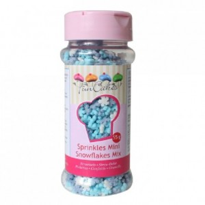 Mini flocons de neige blancs et bleus en sucre FunCakes 50 g